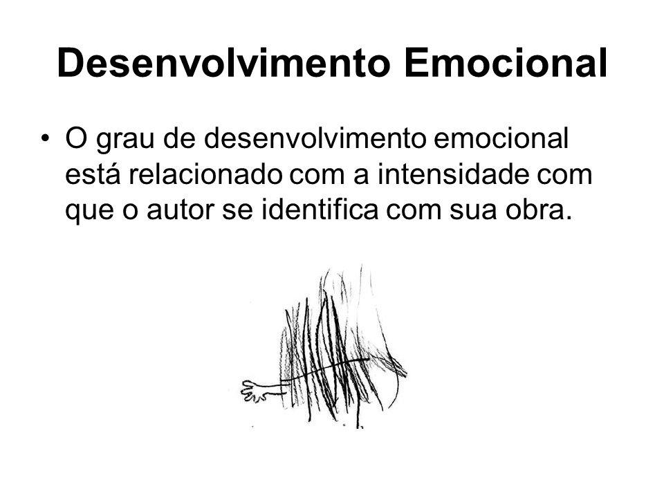 Desenvolvimento Emocional O grau de desenvolvimento emocional está relacionado com a intensidade com que o autor se identifica com sua obra.