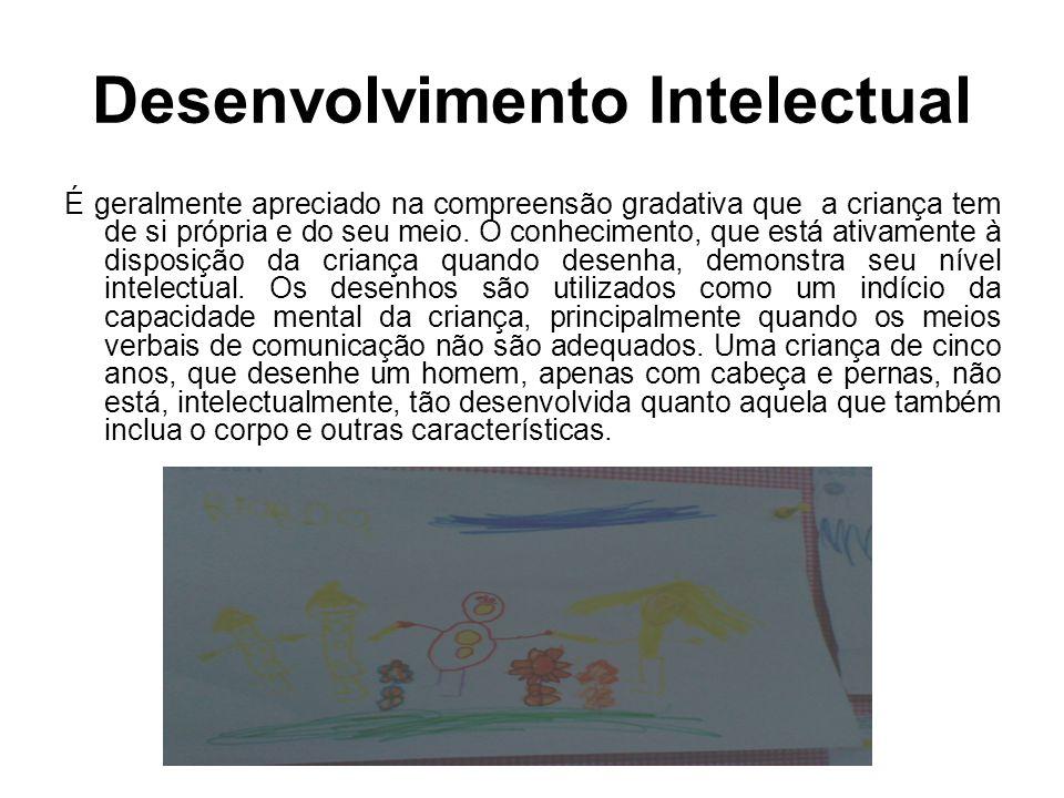 Desenvolvimento Intelectual É geralmente apreciado na compreensão gradativa que a criança tem de si própria e do seu meio. O conhecimento, que está at