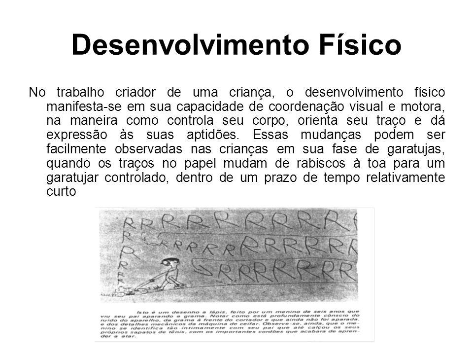 Desenvolvimento Físico No trabalho criador de uma criança, o desenvolvimento físico manifesta-se em sua capacidade de coordenação visual e motora, na