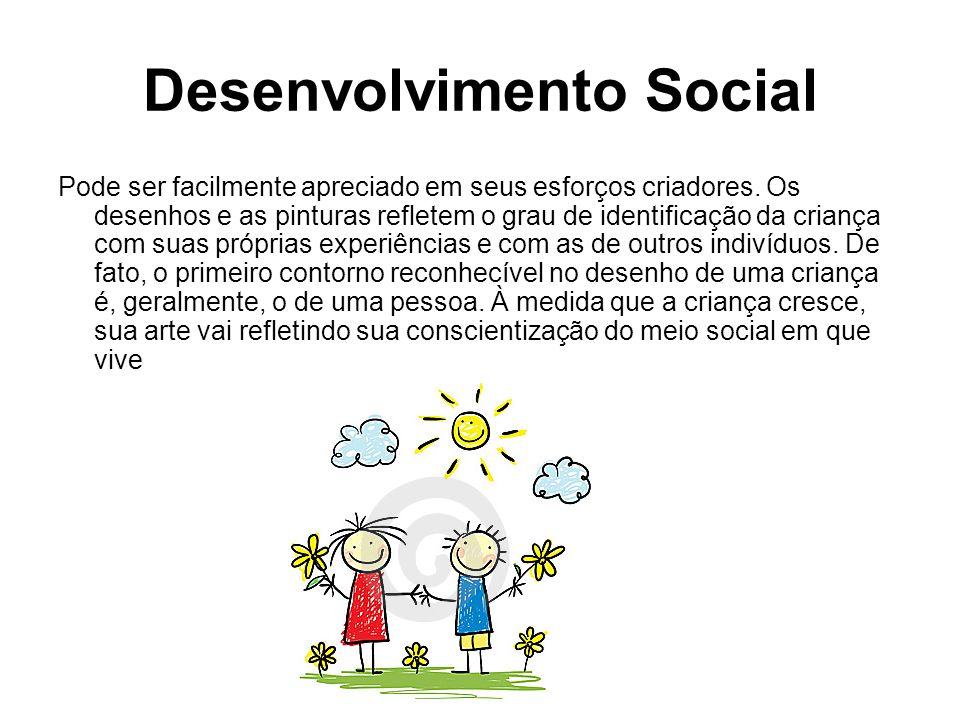 Desenvolvimento Social Pode ser facilmente apreciado em seus esforços criadores. Os desenhos e as pinturas refletem o grau de identificação da criança