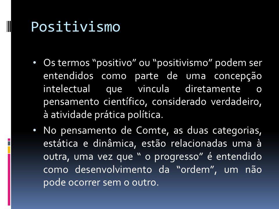 Positivismo Os termos positivo ou positivismo podem ser entendidos como parte de uma concepção intelectual que vincula diretamente o pensamento cientí