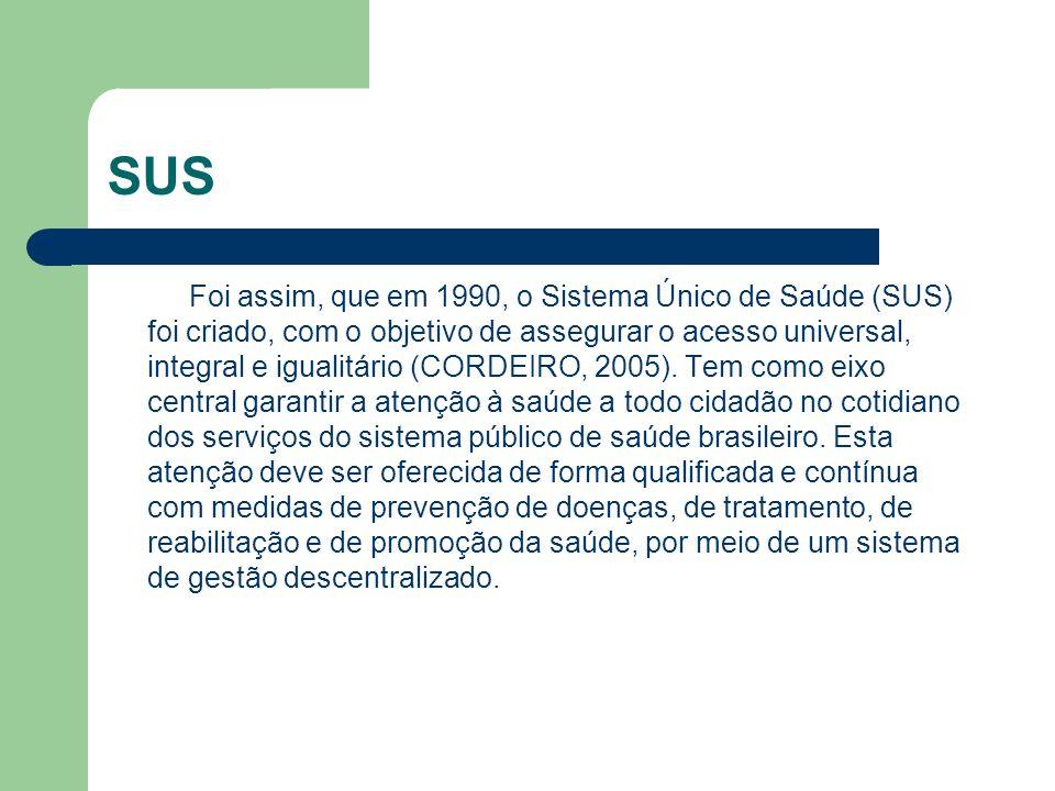 SUS Foi assim, que em 1990, o Sistema Único de Saúde (SUS) foi criado, com o objetivo de assegurar o acesso universal, integral e igualitário (CORDEIR