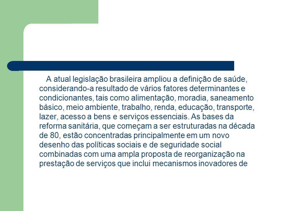 A atual legislação brasileira ampliou a definição de saúde, considerando-a resultado de vários fatores determinantes e condicionantes, tais como alime