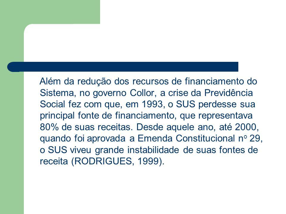 Além da redução dos recursos de financiamento do Sistema, no governo Collor, a crise da Previdência Social fez com que, em 1993, o SUS perdesse sua pr
