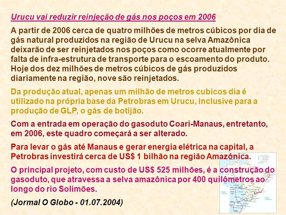 Urucu vai reduzir reinjeção de gás nos poços em 2006 A partir de 2006 cerca de quatro milhões de metros cúbicos por dia de gás natural produzidos na r