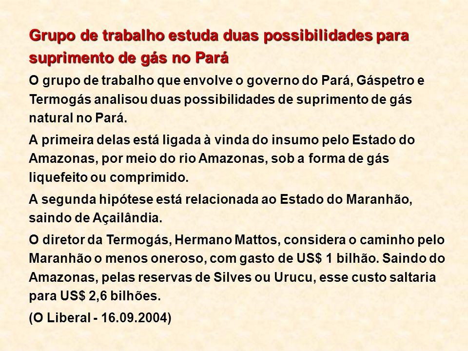 Grupo de trabalho estuda duas possibilidades para suprimento de gás no Pará O grupo de trabalho que envolve o governo do Pará, Gáspetro e Termogás ana