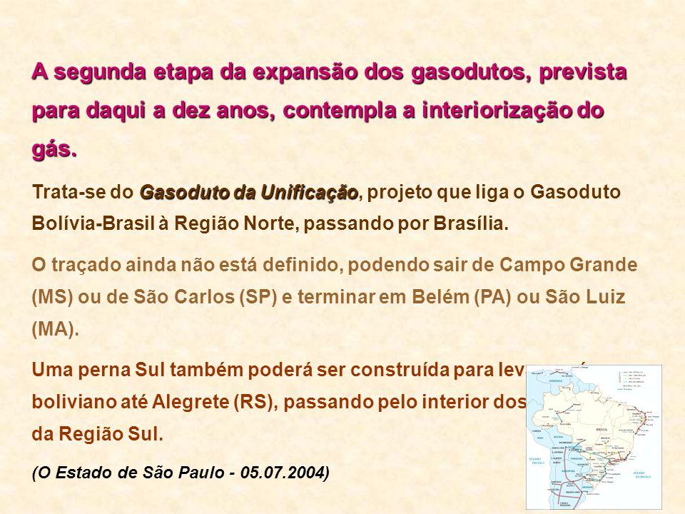 A segunda etapa da expansãodos gasodutos, prevista para daqui a dez anos, contempla a interiorização do gás. A segunda etapa da expansão dos gasodutos