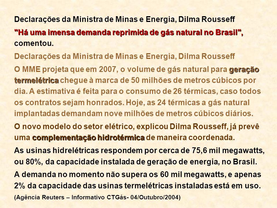 Declarações da Ministra de Minas e Energia, Dilma Rousseff