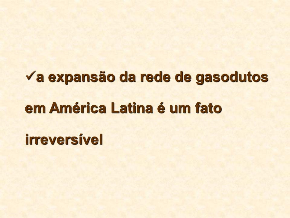 a expansão da rede de gasodutos em América Latina é um fato irreversível a expansão da rede de gasodutos em América Latina é um fato irreversível