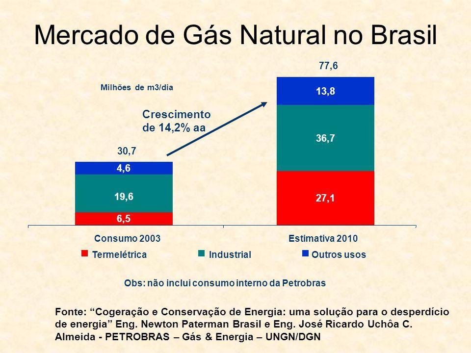Mercado de Gás Natural no Brasil Milhões de m3/dia Obs: não inclui consumo interno da Petrobras Crescimento de 14,2% aa Consumo 2003Estimativa 2010 Te