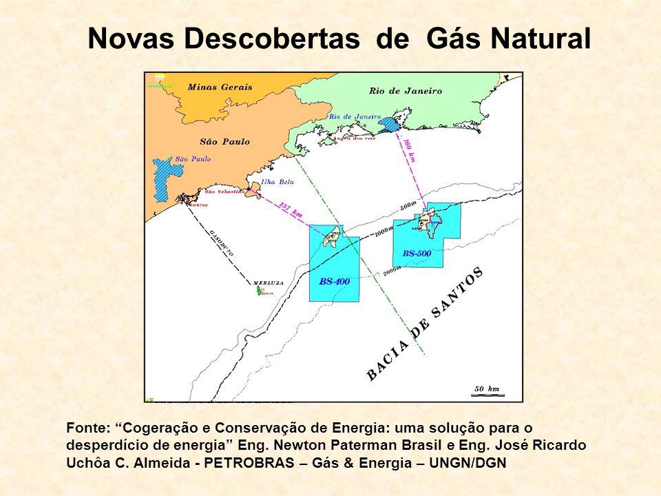 Novas Descobertas de Gás Natural Fonte: Cogeração e Conservação de Energia: uma solução para o desperdício de energia Eng. Newton Paterman Brasil e En