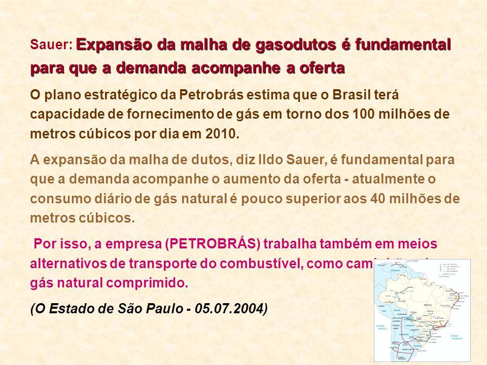 Expansão da malha de gasodutos é fundamental para que a demanda acompanhe a oferta Sauer: Expansão da malha de gasodutos é fundamental para que a dema