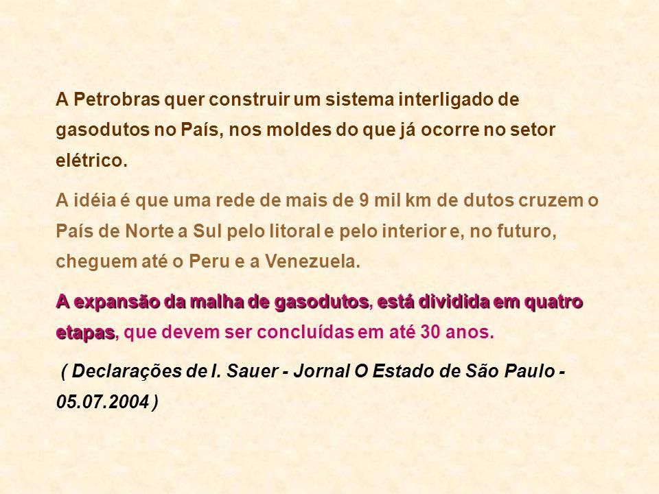 A Petrobras quer construir um sistema interligado de gasodutos no País, nos moldes do que já ocorre no setor elétrico. A idéia é que uma rede de mais