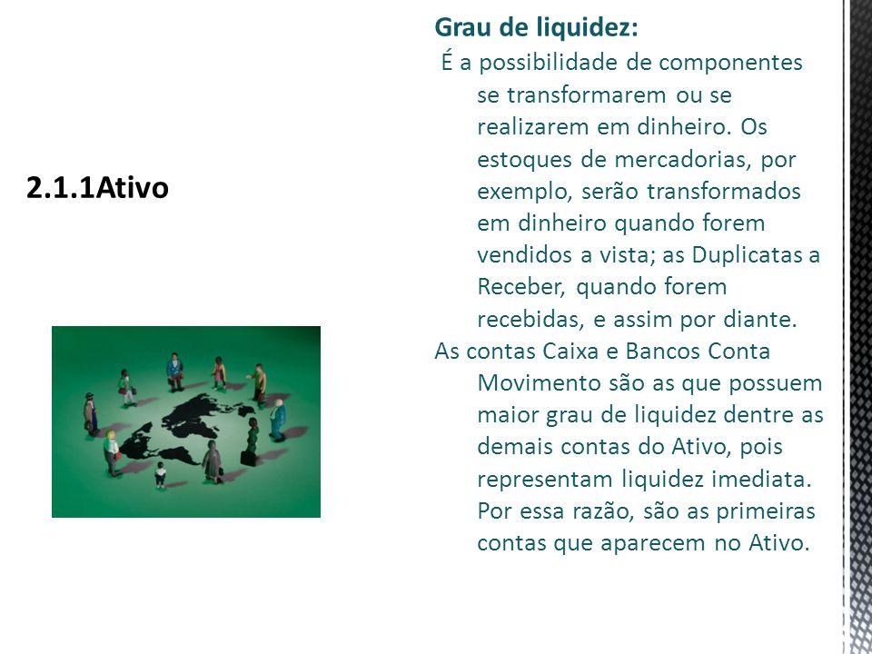 Grau de liquidez: É a possibilidade de componentes se transformarem ou se realizarem em dinheiro.