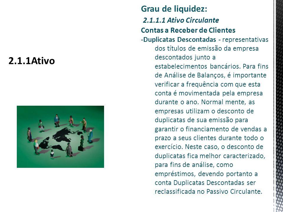 Grau de liquidez: 2.1.1.1 Ativo Circulante Contas a Receber de Clientes -Duplicatas Descontadas - representativas dos títulos de emissão da empresa descontados junto a estabelecimentos bancários.