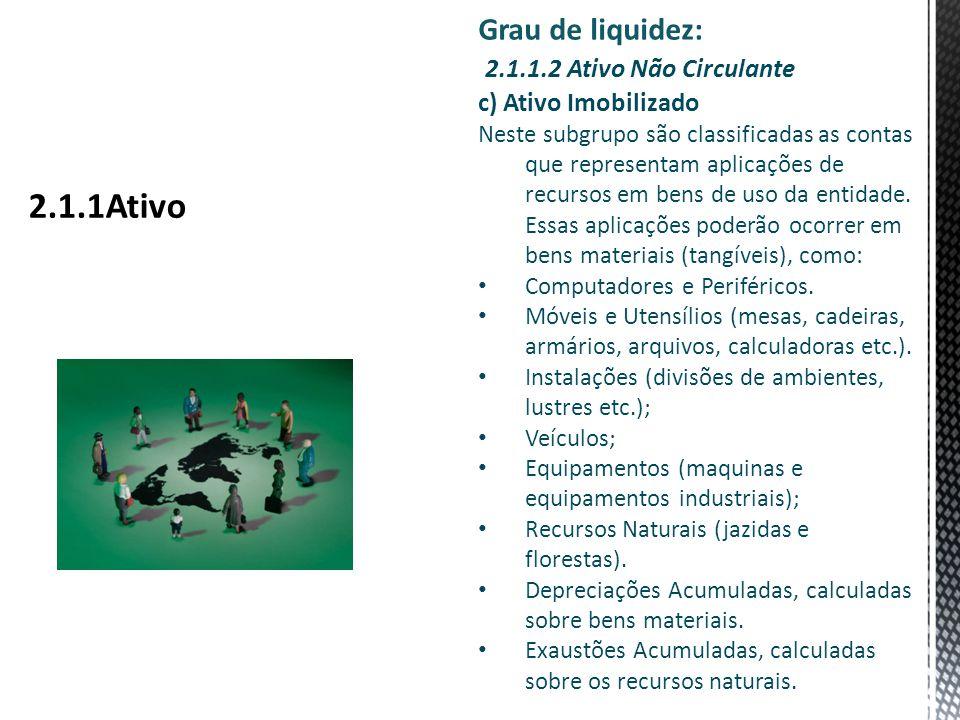 Grau de liquidez: 2.1.1.2 Ativo Não Circulante c) Ativo Imobilizado Neste subgrupo são classificadas as contas que representam aplicações de recursos em bens de uso da entidade.