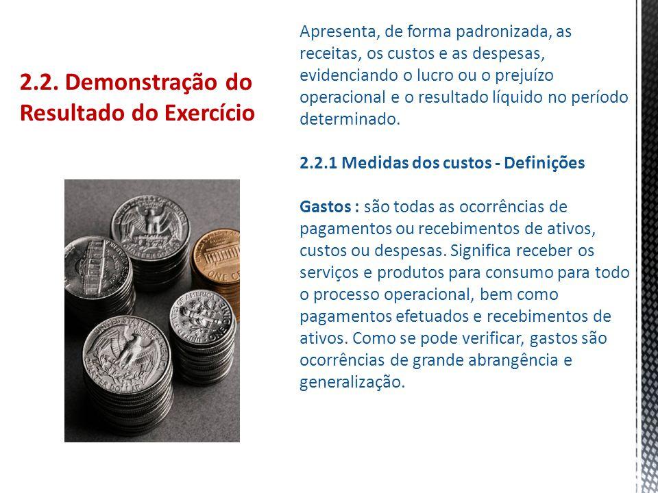 2.2. Demonstração do Resultado do Exercício Apresenta, de forma padronizada, as receitas, os custos e as despesas, evidenciando o lucro ou o prejuízo