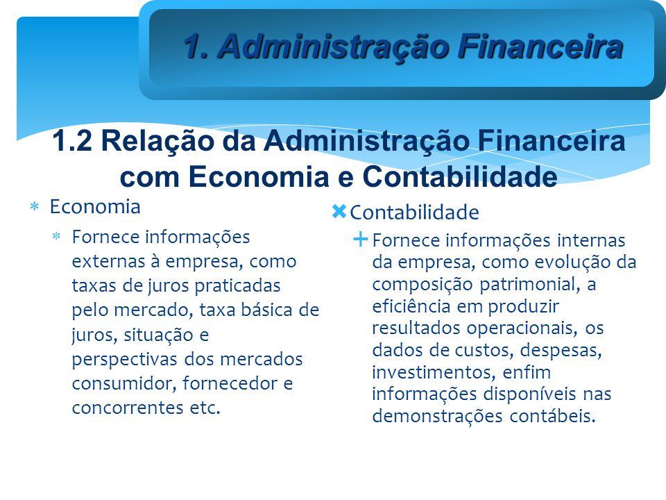 Relações Economia Contabilidade Administração 1.2 Relação da Administração Financeira com Economia e Contabilidade 1.