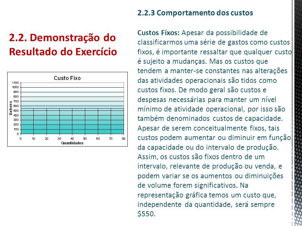 2.2. Demonstração do Resultado do Exercício 2.2.3 Comportamento dos custos Custos Fixos: Apesar da possibilidade de classificarmos uma série de gastos