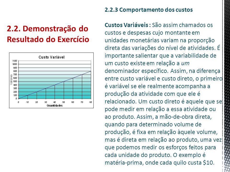 2.2. Demonstração do Resultado do Exercício 2.2.3 Comportamento dos custos Custos Variáveis : São assim chamados os custos e despesas cujo montante em