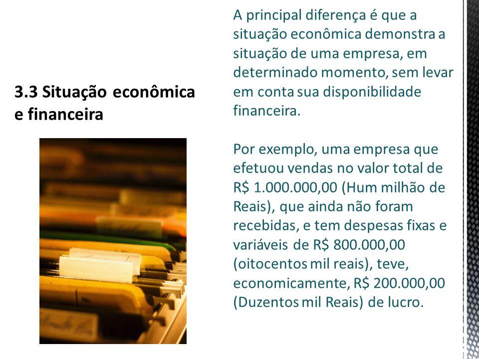 A principal diferença é que a situação econômica demonstra a situação de uma empresa, em determinado momento, sem levar em conta sua disponibilidade financeira.