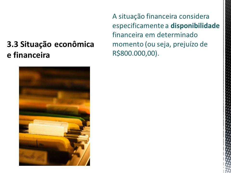 A situação financeira considera especificamente a disponibilidade financeira em determinado momento (ou seja, prejuízo de R$800.000,00).