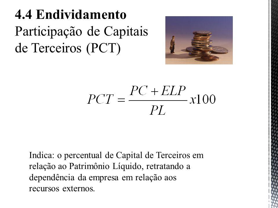 4.4 Endividamento Participação de Capitais de Terceiros (PCT) Indica: o percentual de Capital de Terceiros em relação ao Patrimônio Líquido, retratando a dependência da empresa em relação aos recursos externos.