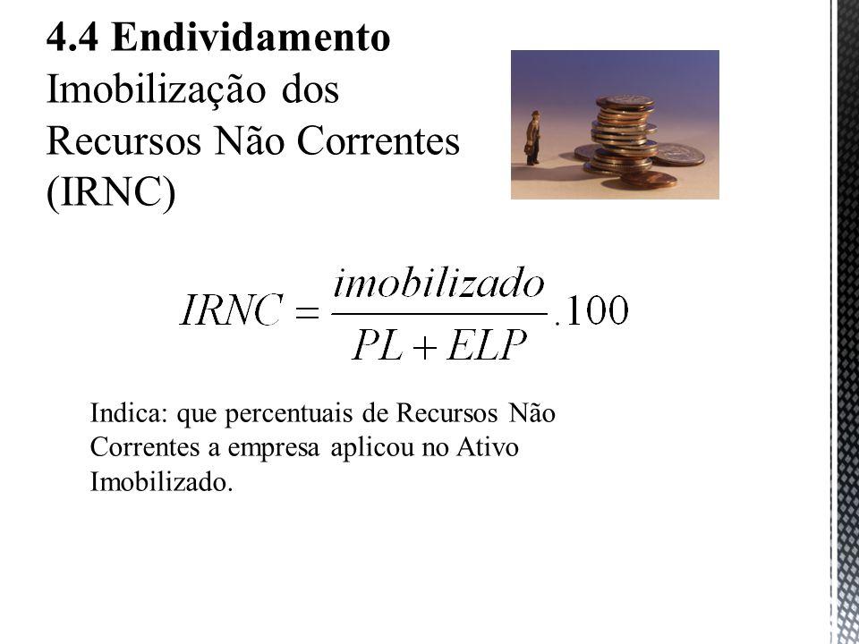 4.4 Endividamento Imobilização dos Recursos Não Correntes (IRNC) Indica: que percentuais de Recursos Não Correntes a empresa aplicou no Ativo Imobilizado.