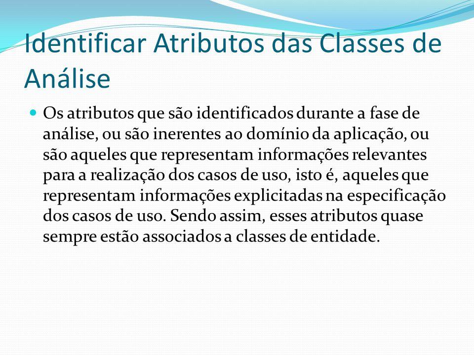 Identificar Atributos das Classes de Análise Os atributos que são identificados durante a fase de análise, ou são inerentes ao domínio da aplicação, o