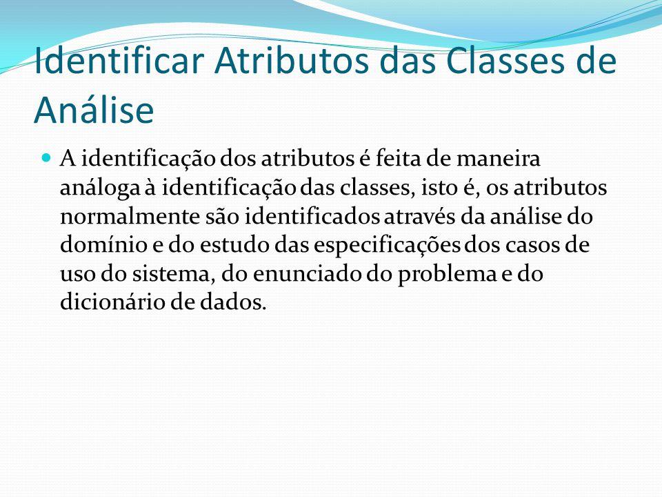 Identificar Atributos das Classes de Análise A identificação dos atributos é feita de maneira análoga à identificação das classes, isto é, os atributo