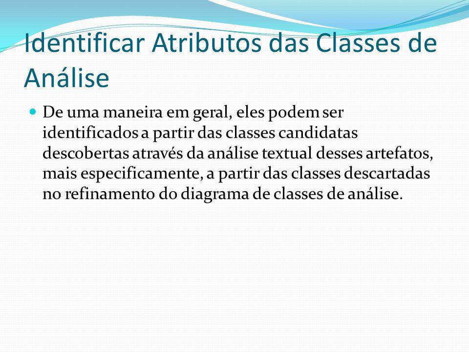 Identificar Atributos das Classes de Análise De uma maneira em geral, eles podem ser identificados a partir das classes candidatas descobertas através
