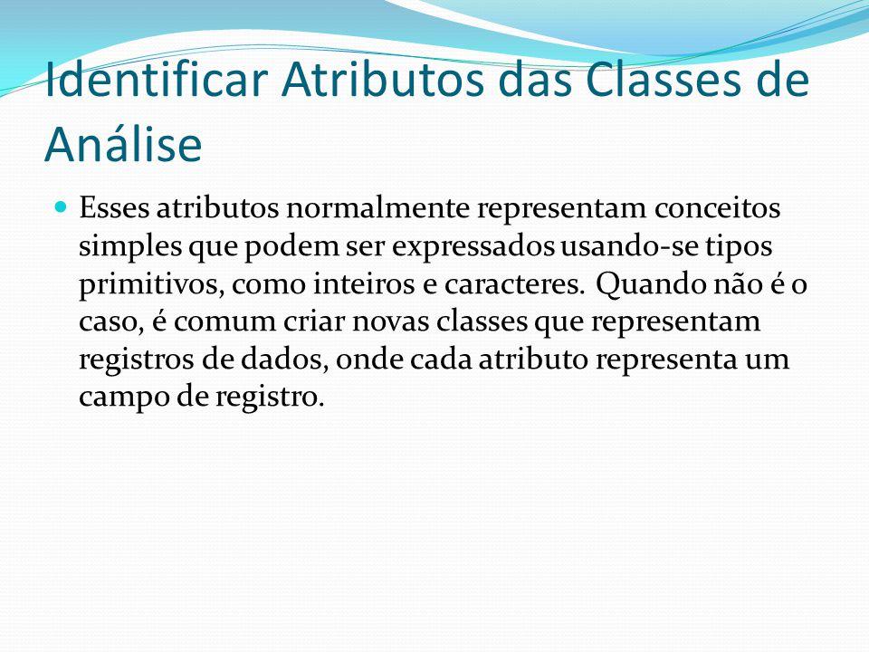 Identificar Atributos das Classes de Análise Esses atributos normalmente representam conceitos simples que podem ser expressados usando-se tipos primi