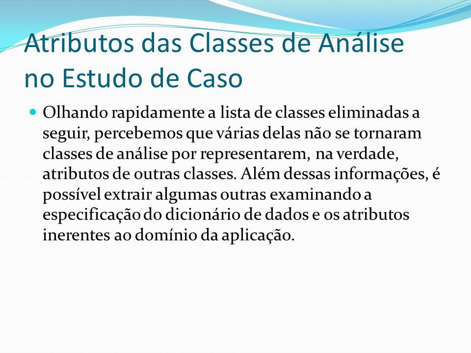 Atributos das Classes de Análise no Estudo de Caso Olhando rapidamente a lista de classes eliminadas a seguir, percebemos que várias delas não se torn