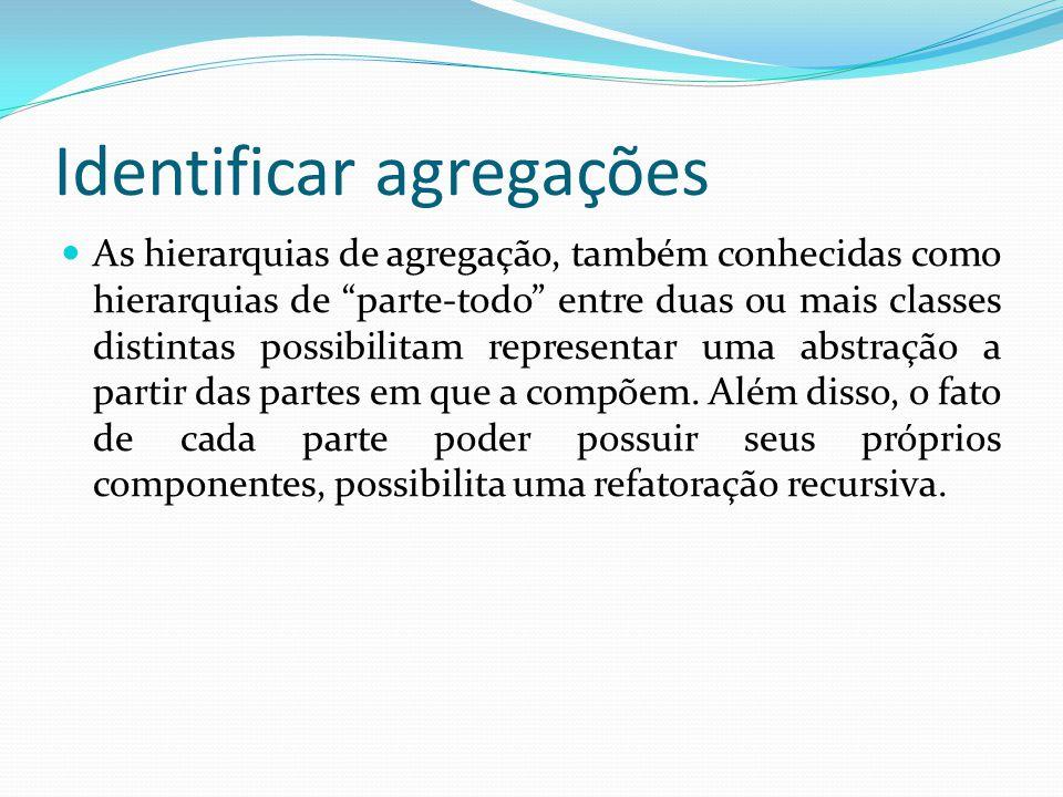 Identificar agregações As hierarquias de agregação, também conhecidas como hierarquias de parte-todo entre duas ou mais classes distintas possibilitam