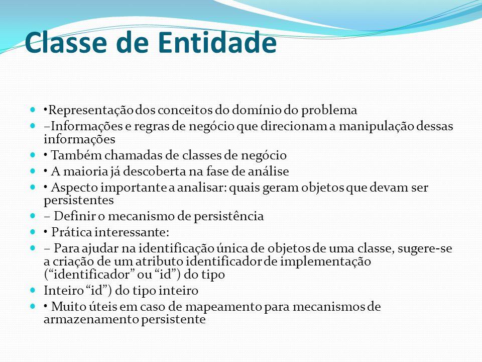 Classe de Entidade Representação dos conceitos do domínio do problema –Informações e regras de negócio que direcionam a manipulação dessas informações