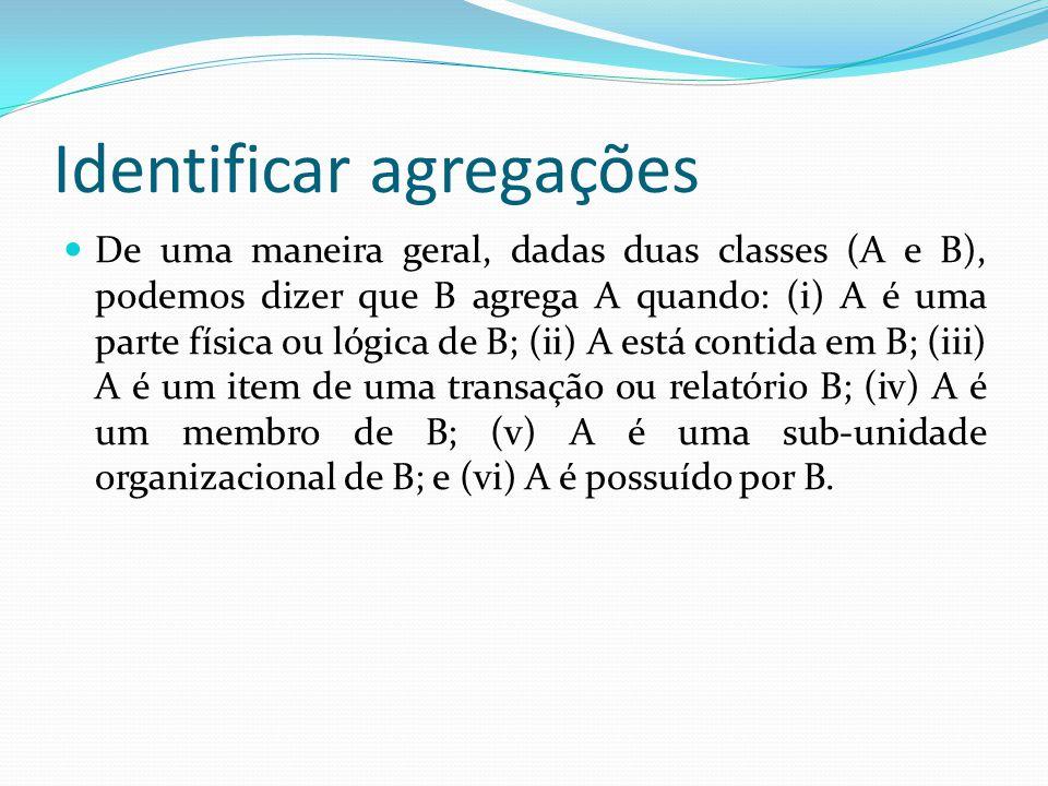 Identificar agregações De uma maneira geral, dadas duas classes (A e B), podemos dizer que B agrega A quando: (i) A é uma parte física ou lógica de B;