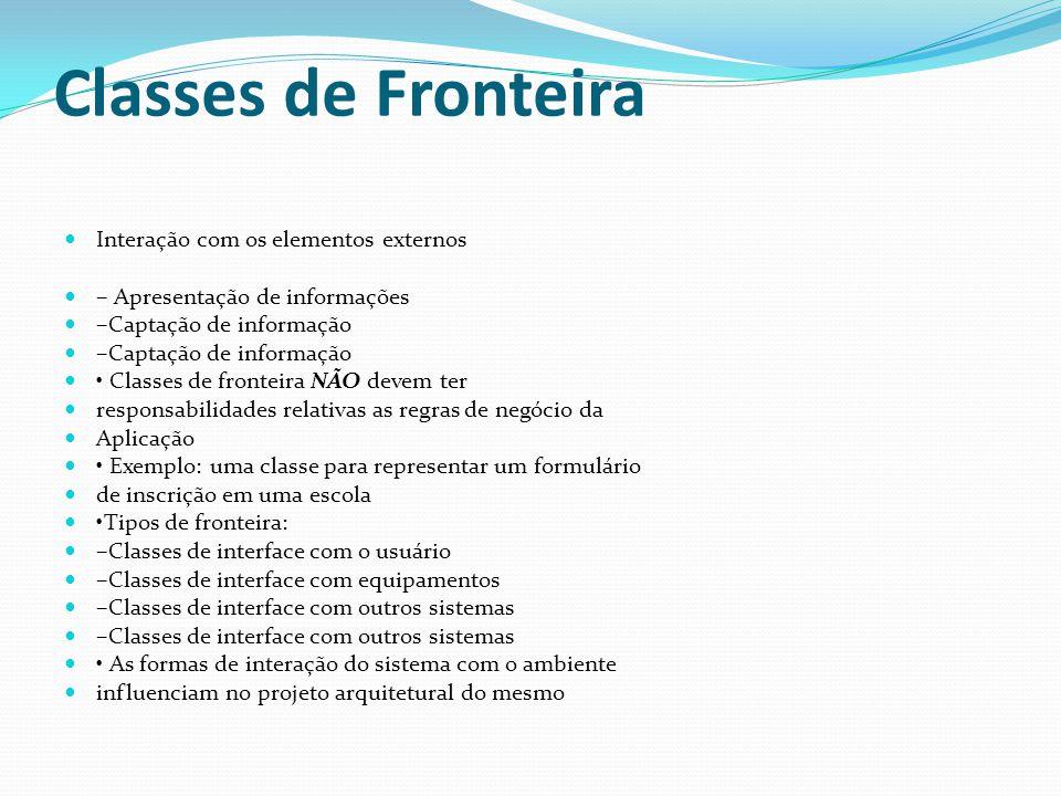 Classes de Fronteira Interação com os elementos externos – Apresentação de informações –Captação de informação Classes de fronteira NÃO devem ter resp