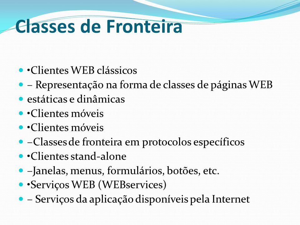 Classes de Fronteira Clientes WEB clássicos – Representação na forma de classes de páginas WEB estáticas e dinâmicas Clientes móveis –Classes de front