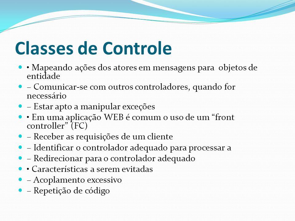 Classes de Controle Mapeando ações dos atores em mensagens para objetos de entidade – Comunicar-se com outros controladores, quando for necessário – E