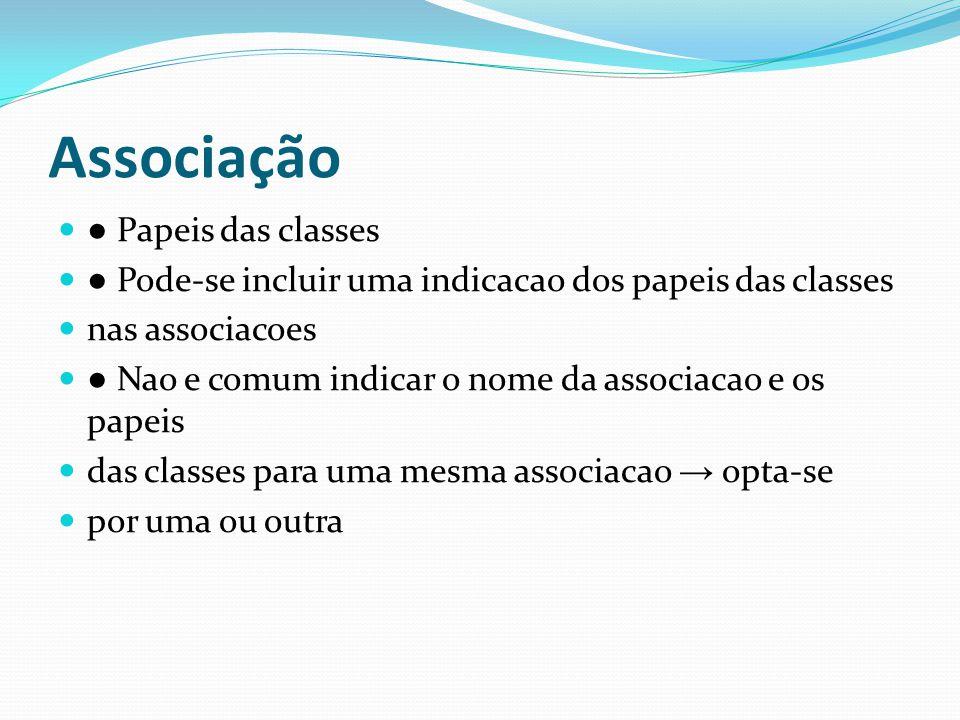 Papeis das classes Pode-se incluir uma indicacao dos papeis das classes nas associacoes Nao e comum indicar o nome da associacao e os papeis das class