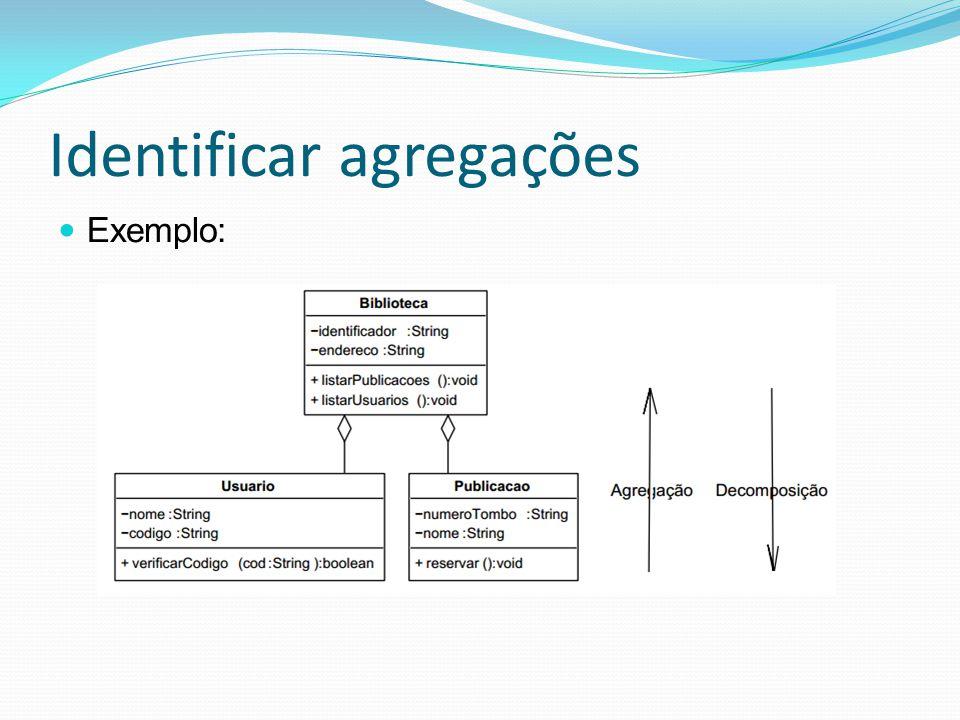 Identificar agregações Exemplo: