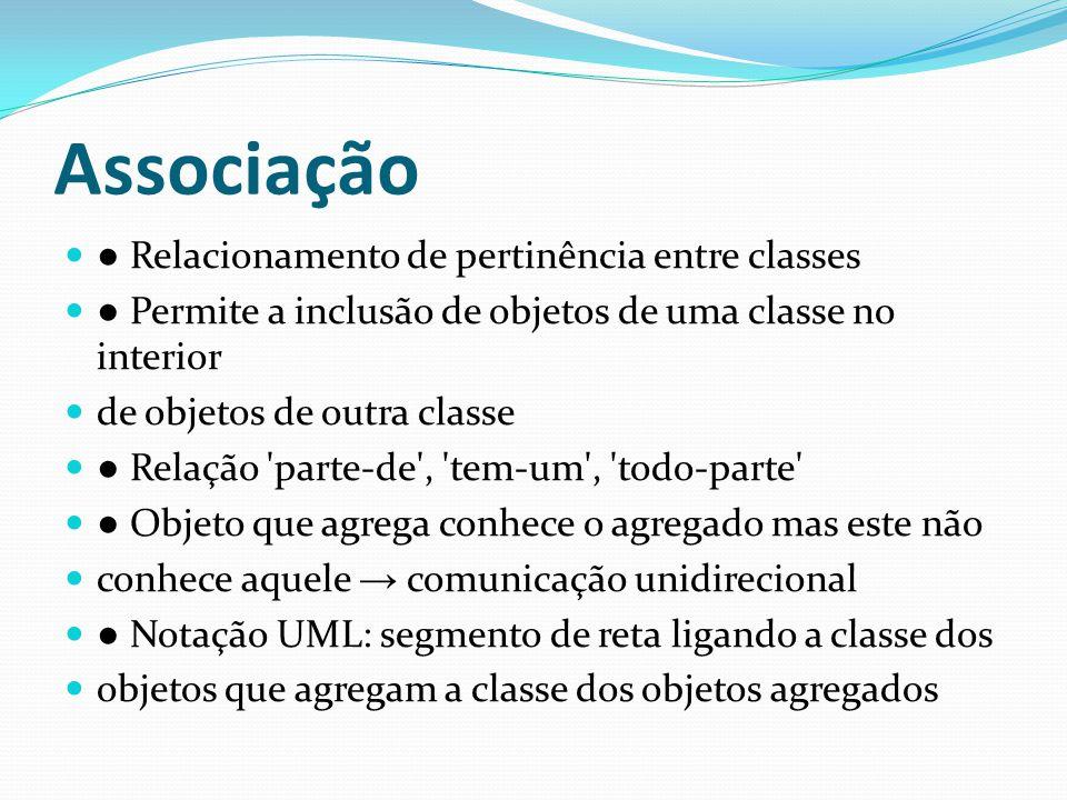 Associação Relacionamento de pertinência entre classes Permite a inclusão de objetos de uma classe no interior de objetos de outra classe Relação 'par