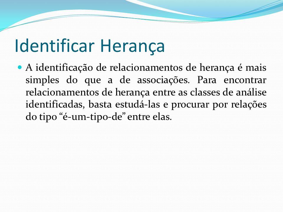 Identificar Herança A identificação de relacionamentos de herança é mais simples do que a de associações. Para encontrar relacionamentos de herança en