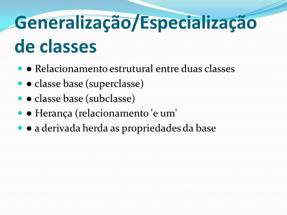 Generalização/Especialização de classes Relacionamento estrutural entre duas classes classe base (superclasse) classe base (subclasse) Herança (relaci