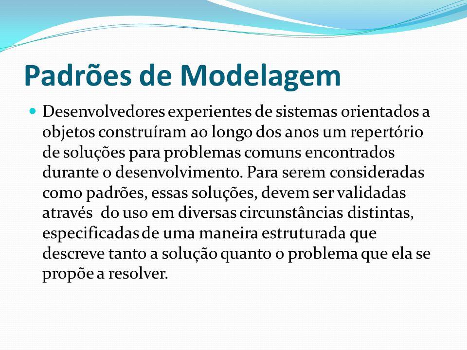 Padrões de Modelagem Desenvolvedores experientes de sistemas orientados a objetos construíram ao longo dos anos um repertório de soluções para problem