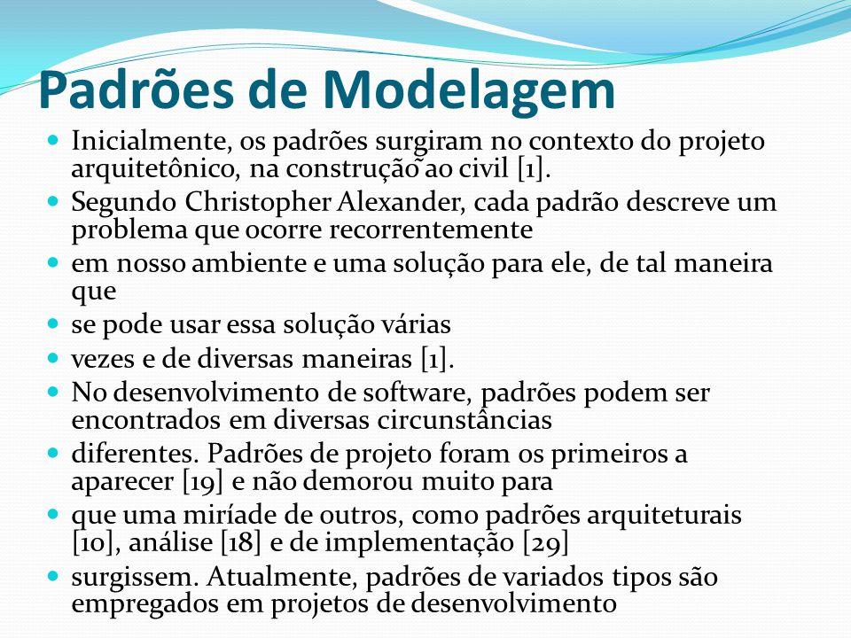 Padrões de Modelagem Inicialmente, os padrões surgiram no contexto do projeto arquitetônico, na construção ̃ao civil [1]. Segundo Christopher Alexande