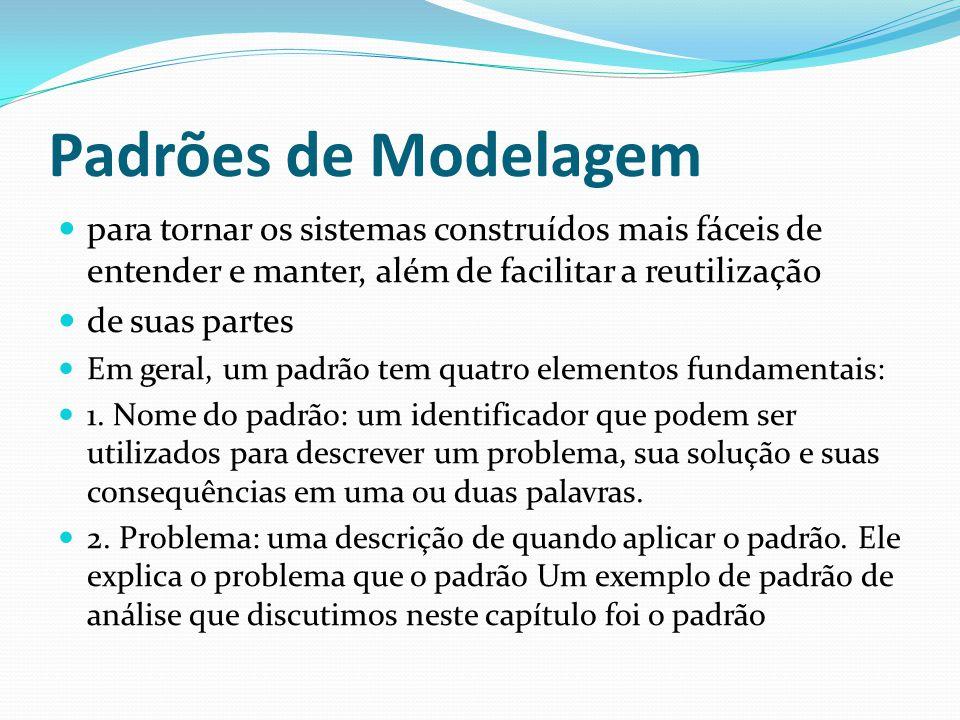 Padrões de Modelagem para tornar os sistemas construídos mais fáceis de entender e manter, além de facilitar a reutilização de suas partes Em geral, u