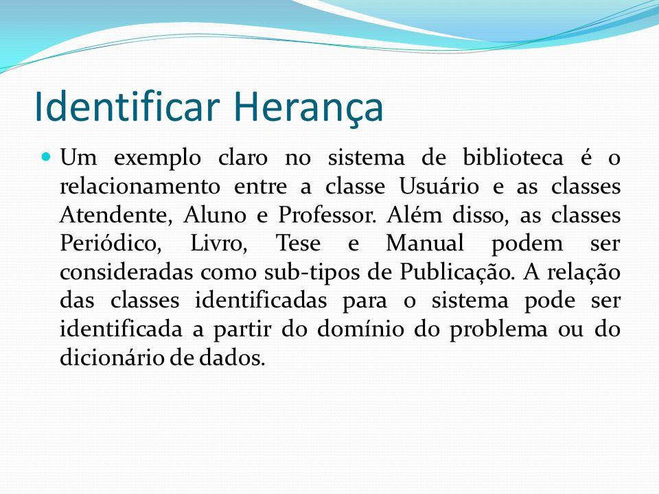 Identificar Herança Um exemplo claro no sistema de biblioteca é o relacionamento entre a classe Usuário e as classes Atendente, Aluno e Professor. Alé