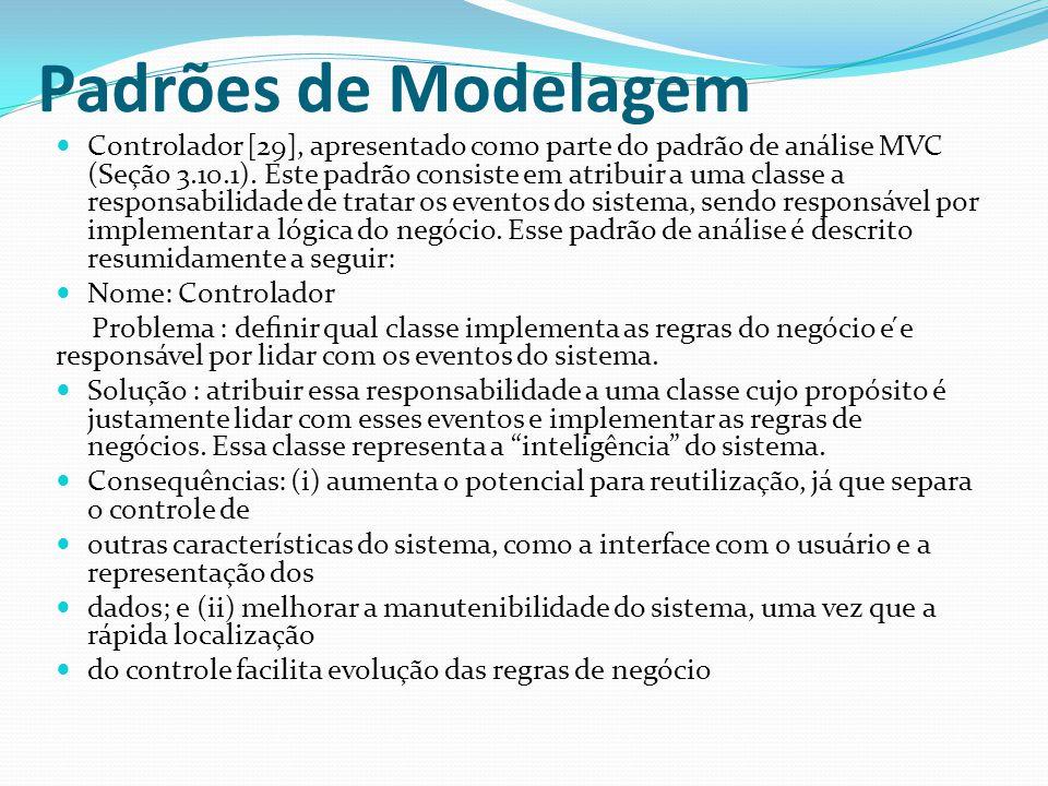 Padrões de Modelagem Controlador [29], apresentado como parte do padrão de análise MVC (Seção 3.10.1). Este padrão consiste em atribuir a uma classe a