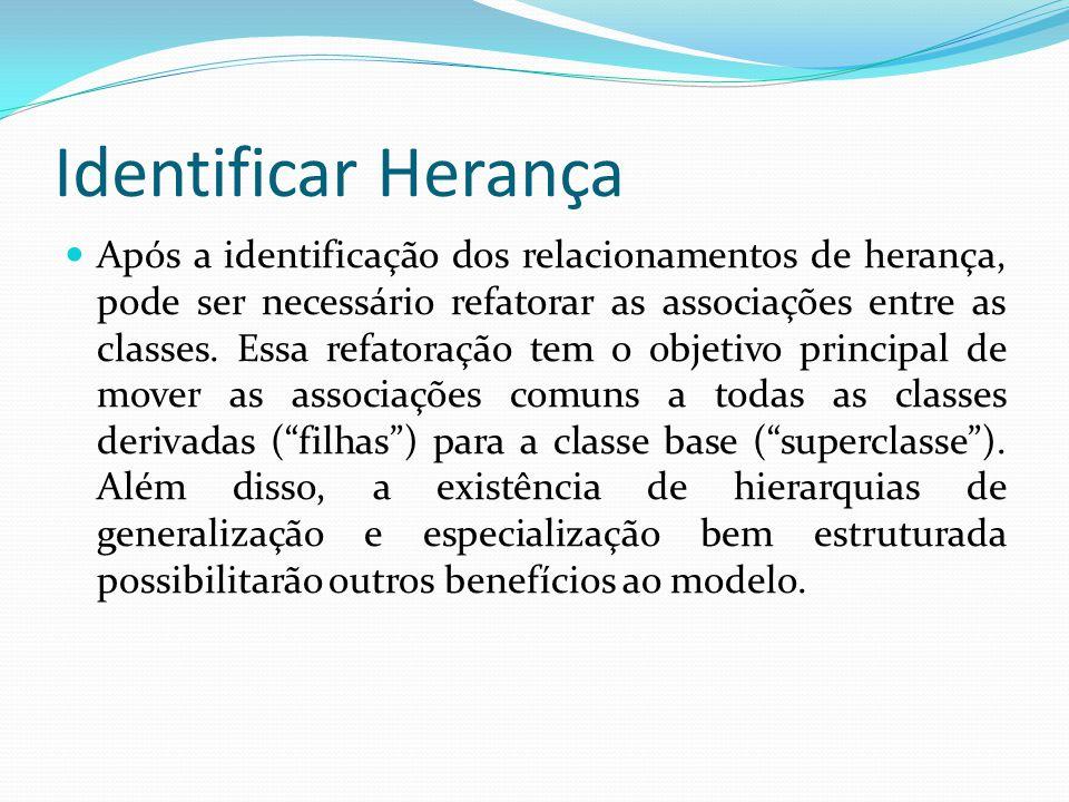 Após a identificação dos relacionamentos de herança, pode ser necessário refatorar as associações entre as classes. Essa refatoração tem o objetivo pr
